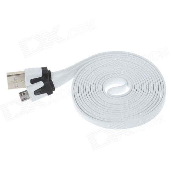 Flat Micro USB Male to USB 2.0 Male Data Sync / Charging Cable for Samsung + More - White (200cm)
