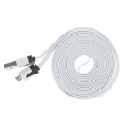 Flat Micro USB to USB 2.0 Data Charging Cable for Phones - White (2m)