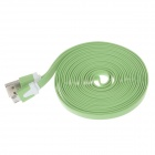 Flat Micro USB Male to USB 2.0 Male Data Sync / Charging Cable for Samsung + More - Green (300cm)