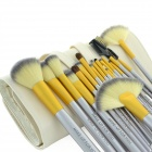 6347 Professional Makeup Brush Tool Set w/ Carrying PU Pouch - White + Coffee (18 PCS)