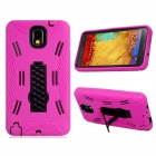 Robot Style Protective Plastic + Silicone Back Case Stand for Samsung Galaxy Note 3 N9000 -Deep Pink