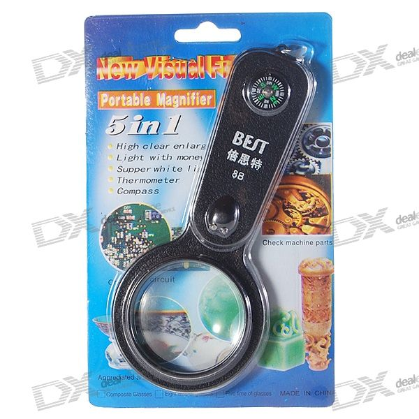 2-LED White + UV Light 8X Magnifier with Compass and Thermometer (2*CR2016)