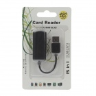 4-in-1 USB 2.0 Micro SD / TF Card Reader - Black (Max. 32GB)