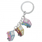 Cute Bus Style Stainless Steel Keychain - Silver + Red + Yellow + Pink + Blue (2 PCS)