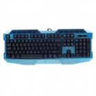 R8-1836 Multi-media USB Steel Plate Gamer Keyboard - Blue + Black (136cm-Cable)