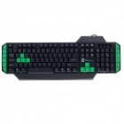 R8 KB-1830 Professional Multimedia Game USB 2.0 Wired Keyboard - Black + Green (130cm-Cable)