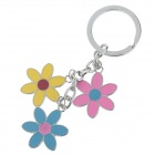Fashionable Flower Style Stainless Steel Keychain - Silver + Pink + Yellow + Blue