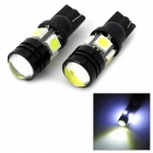 LY398 T10 2.5W 65lm 6000K 4-SMD 5050 LED + 1-LED White Car Running Lights (12V / 2 PCS)