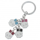 Lovely Cartoon Style Stainless Steel Keychain - Silver + Blue + Red + Pink + Black