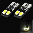 SENCART T10 1.5W 27lm 6000K 4-SMD 5730 LED White Car Steering Lights (12~16V / 2 PCS)
