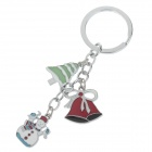 Fashionable Christmas Style Stainless Steel Keychain - Silver + White + Red + Green + Black