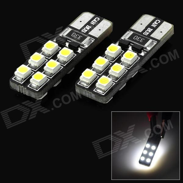 SENCART T10 1.2W 15lm 6500K 12-SMD 3528 LED White Car Headlamp / Foglight (12~16V / 2 PCS) 5x t10 168 194 2825 w5w for cree chip led replacement bulbs car license plate parking lights lens white yellow blue red pink