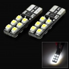SENCART T10 1.2W 15lm 6500K 12-SMD 3528 LED White Car Headlamp / Foglight (12~16V / 2 PCS)