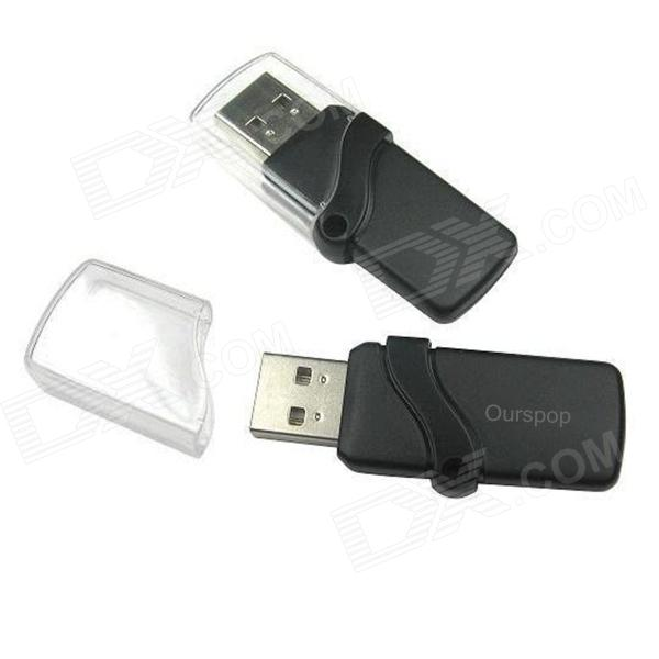 Ourspop P7 Crystal USB 2.0 Flash Drive - Black + Transparent (64GB)