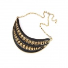 Exaggerated Crescent Rivets Women's Necklace - Black + Antique Copper