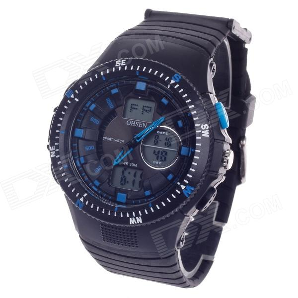 AD1303 Stylish Waterproof Multifunction Analog + Digital Display Women's Wrist Watch - Black + Blue