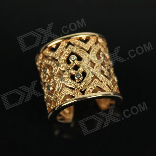 Heart Shape Diamond Ring - GoldRings<br>Color Golden Quantity 1 Piece Material Gold-plated Gender Unisex Suitable for Adults U.S Size 7 Ring Diameter 2 cm Ring Circumference 5.5 cm Packing List 1 x Ring<br>