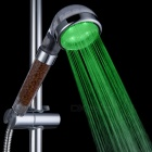 Contemporary Chrome Finish Temperature Visualizer Water Purification LED Showerhead - Silver