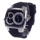 SPEATAK SP9039G Fashion Dual Time Display + Simple Calendar Men's Quartz Wristwatch - Black + Silver