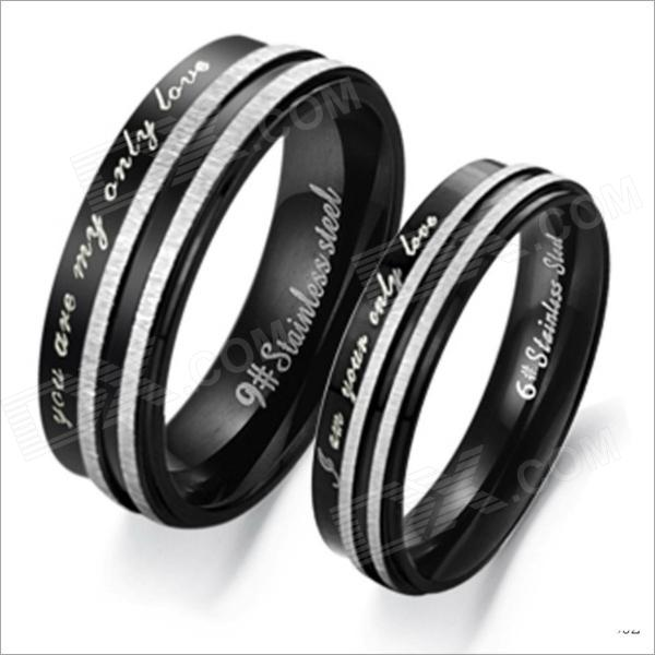 GJ304 Black  Only Love 316 L Stainless Steel Couples Ring - Black + Silver (Size 9 + 7 / 2 PCS)