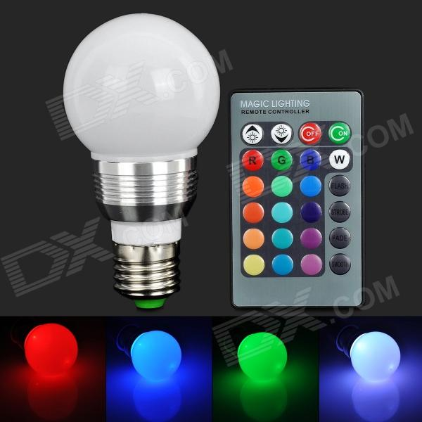 TYUN01 E27 3W 180lm 1-LED RGB Light Bulb w/ Remote Control - White (AC 85~265V) 3w smd led 16 color light bulb with ir remote control 85 265v