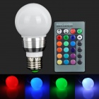 TYUN01 E27 3W 180lm 1-LED RGB Light Bulb w/ Remote Control - White (AC 85~265V)