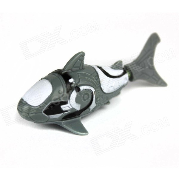 ROBO FISH Shark Style Electronic Fish Toy - Black + White (2 x LR44)
