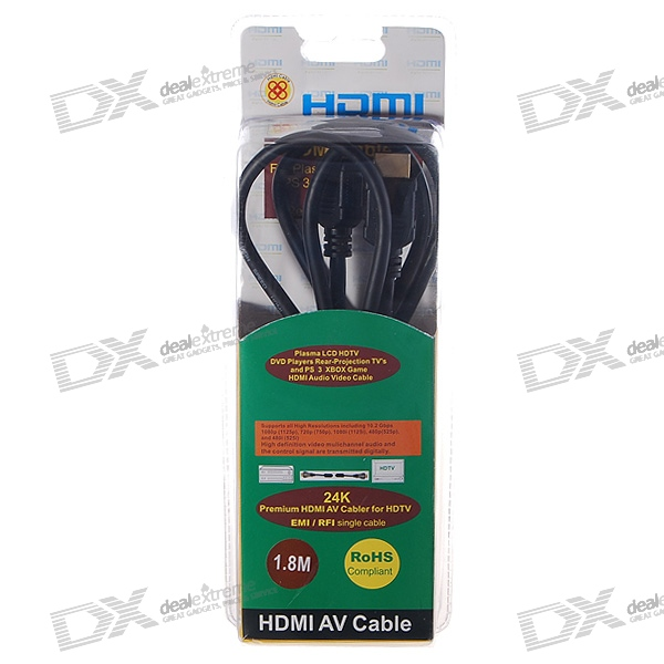 Gold Plated 1080i HDMI V1.3 M-M Connection Cable for Xbox/PS3/DVD (1.8M-Length)