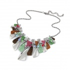 Fashionable Metallic Bling Irregular Squares Necklace - Multicolored