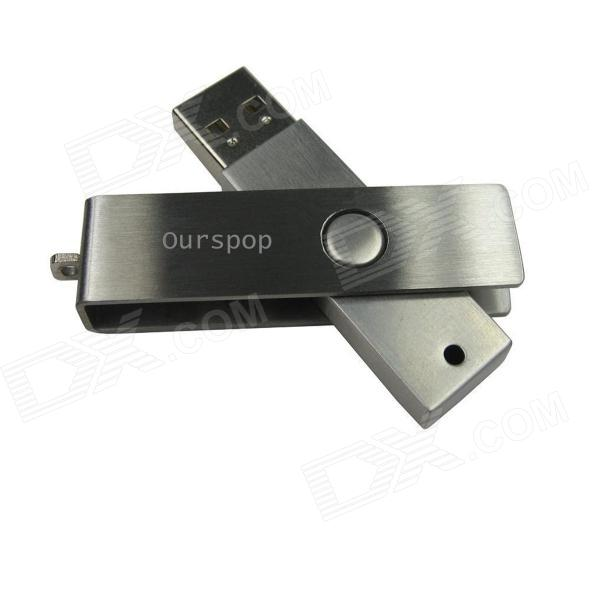 Ourspop U300 metal del eslabón giratorio USB 2.0 Flash Drive - Silver (16GB)