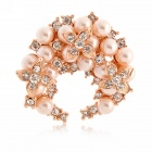 EQute XPEW12C3 Luxurious White Rhinestones Flower Pearl Golden Pin Brooch