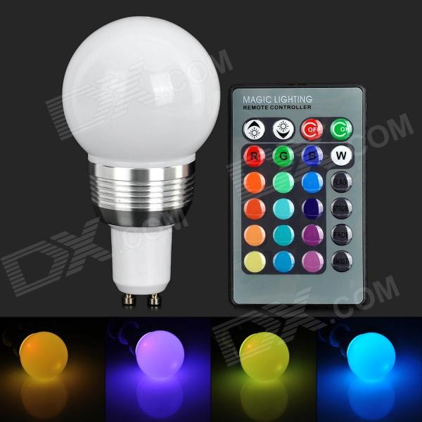 YUIN03 GU10 3W 180lm 1-LED RGB Light Bulb w/ Remote Control - White (AC 85~265V) 3w smd led 16 color light bulb with ir remote control 85 265v