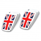 Flag of UK Pattern Zinc Alloy Car Wiper Nozzle Covers - Red + Blue (2 PCS)