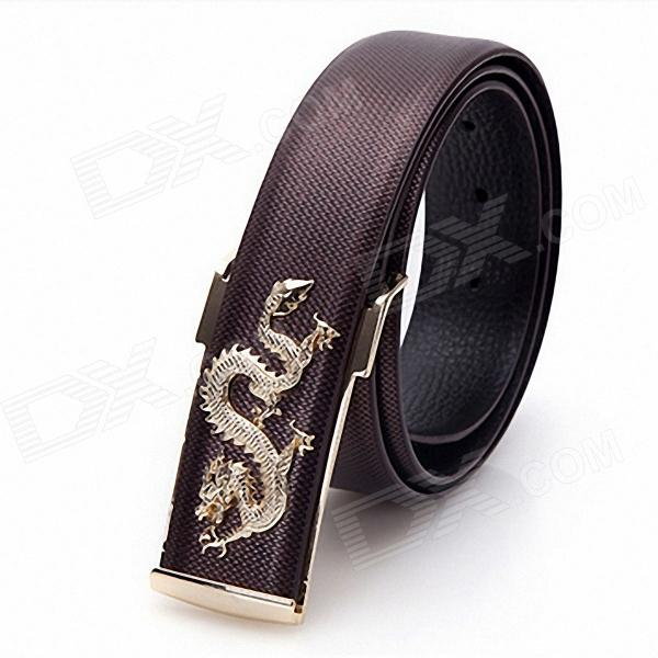 Men's Leading Zinc Alloy Buckle Double Layer Cowhide Belt - Brown + Gold stylish zinc alloy cowhide waist decoration keychain brown coffee