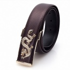 Men's Leading Zinc Alloy Buckle Double Layer Cowhide Belt - Brown + Gold