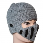 Men's Helmet Type Knitted Cap - Black + White