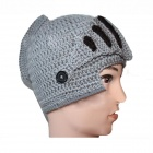 Men's Helmet Type Knitted Cap - Grey