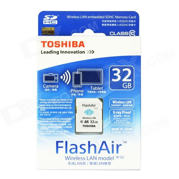 Toshiba FlashAir Wireless LAN W-02 SDHC Memory Card - White (32GB / Class10)