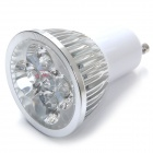 GU10 4W 500lm 6000K 4-LED White Light Lamp Bulb - Silver + White (85~265V)