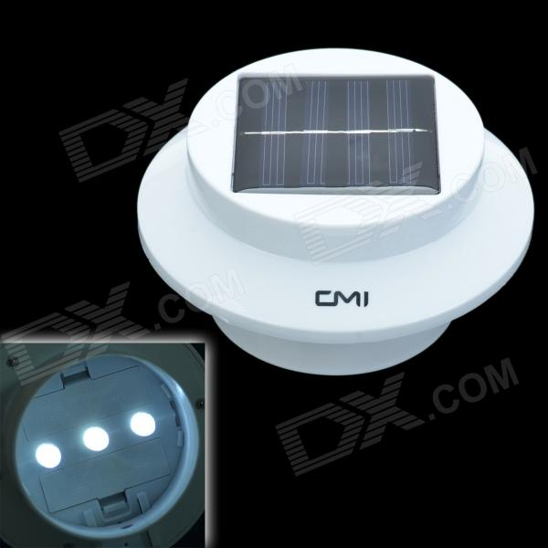 CMI 0.3W White Light Solar Powered LED Sink Lamp w/ Light Control - White (2 x AA) cmi 5w 40lm 3500k 3 led light control pir control warm white solar wall lamp silvery white 12v
