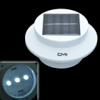 CMI 0.3W White Light Solar Powered LED Sink Lamp w/ Light Control - White (2 x AA)