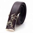Men's Horsehead Buckle Leather Belt - Brown + Gold