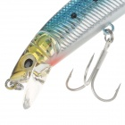 Lifelike Plastic Fish Style Fishing Bait w/ Hook - Blue + Black