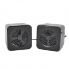 0223 Mini Square Shape USB Powered 3.5mm Jack Stereo Speaker - Black