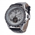 JARAGAR Fashionable Visible Rotational Mechanical Watches - Black + Silver + White