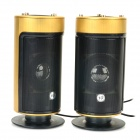 USB 2.0 Cylinder-Shaped Heavy Bass Speaker - Black + Antique Golden