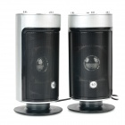 USB 2.0 Cylinder-Shaped Heavy Bass Speaker - Black + Silver Grey