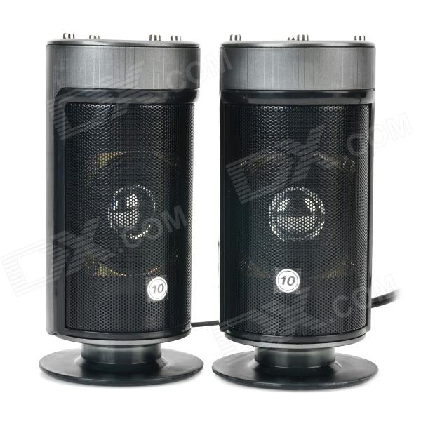 Cylinder Style USB 2.0 / 3.5mm Wired Bass 2.0-CH Speakers Set - Black + Deep Grey hy 218 mini usb power 8w speakers black silver 2 pcs