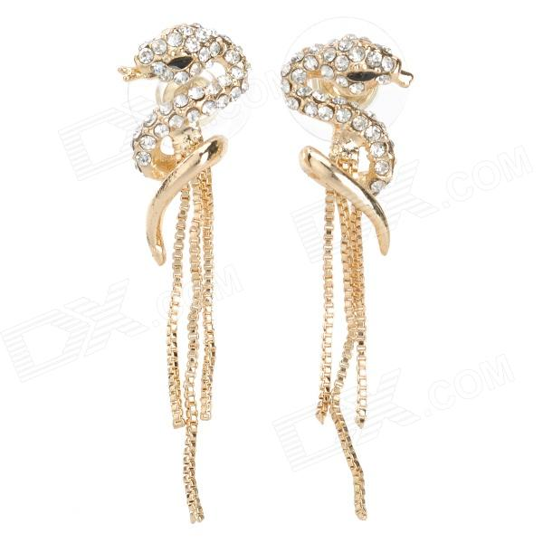 Snake Styke Rhinestone Fashion Earrings for Women - Golden (Pair)