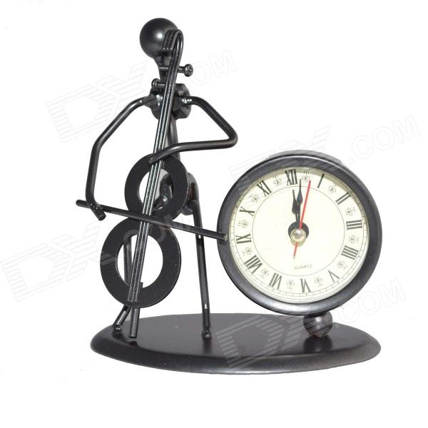 DEDO-Iron Art MG-214 Fashionable Cello Iron-Man Steel Art Clock - Black